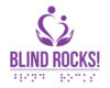 Blind Rocks! logo with two hand holding two people Blind Rocks! written below