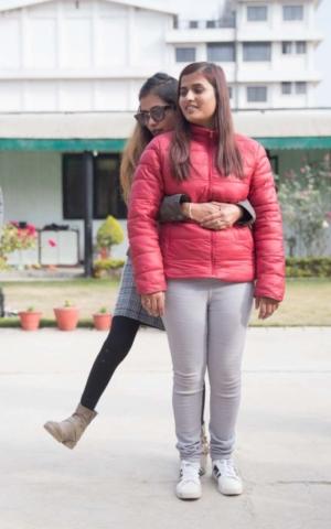 Sristi teaching dance for a blind participant