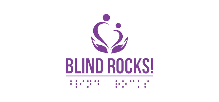 Two people holding each others hands and they are standing on top of other person's hand and Blind Rocks! written in both Braille and sighted alphabets