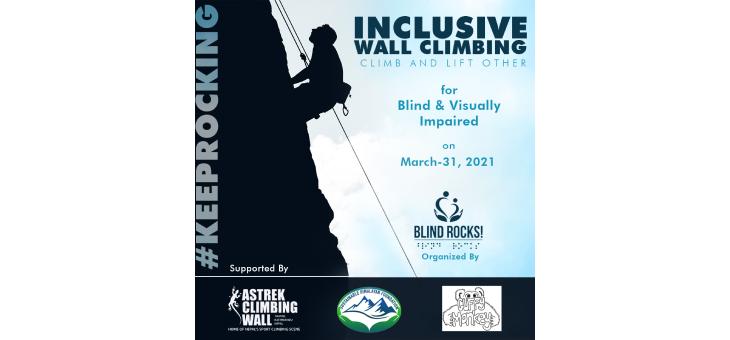 Flyer design poster of inclusive wall climbing program.