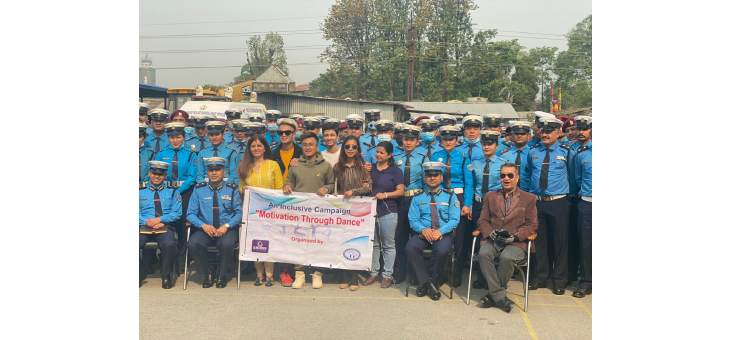 Group Photo. after successfully conducting Motivation Through Dance Campaign with Kathmandu Traffic Police at SingaDarbar.