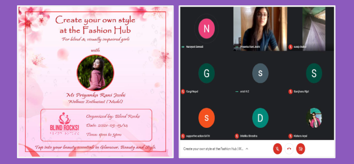 "Flyer design of ""Create your own style at the fashion hub with Ms. Priyanka Rani Joshi"" program."