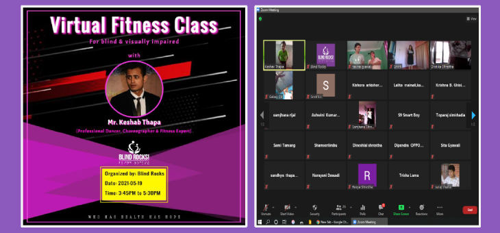 """Flyer design of """"Virtual health and fitness class with Mr. Keshav Thapa"""" program."""