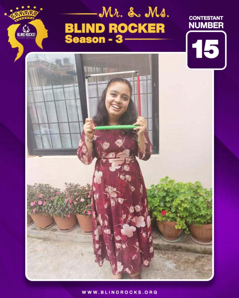 Ms. Blind Rocker Second Runner up Rojina Pokhrel (Contestant No. 15)